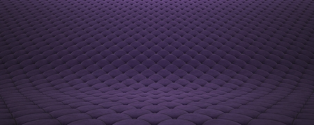 Quilted fabric surface. Purple velvet and black leather.