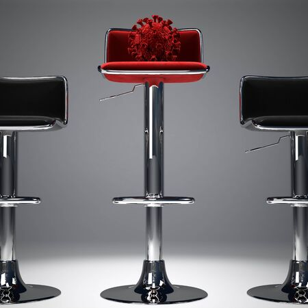 An illustration showing a coronavirus on a high red bar stool. Stockfoto