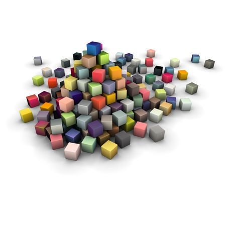 large stack of colored cubes