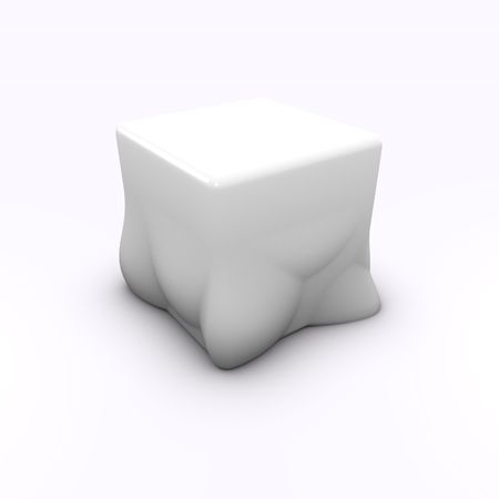 defrost: render of a molten melted cube child chair seat