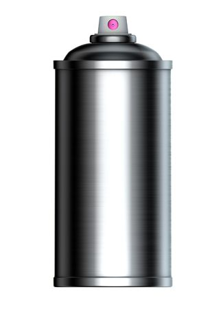 brushed metal graffiti spray can on a white background  Banco de Imagens