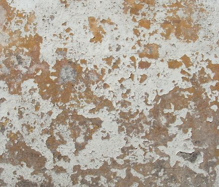worn orange gray white painted wall with paint chip blathering Stock Photo - 7151386