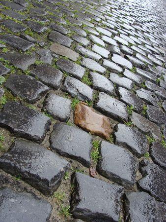 wet from rain Flemish Belgian cobble stone