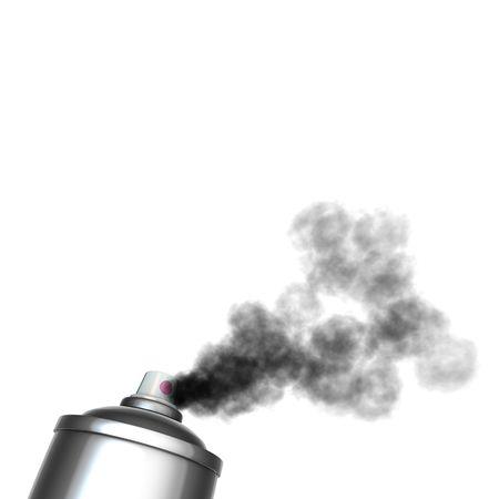 3d render of a graffiti spray can spraying a black mist  photo