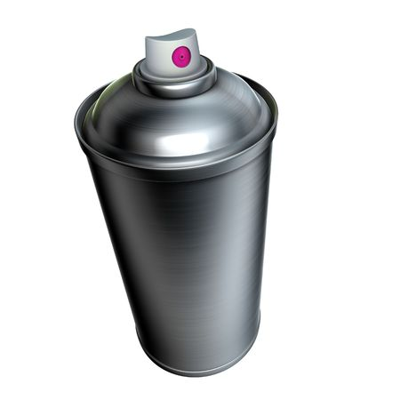 3d brushed metal graffiti spray can on a white background  photo