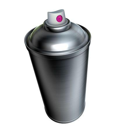 rapero: 3D de graffiti de metal pulido de spray puede sobre un fondo blanco  Foto de archivo