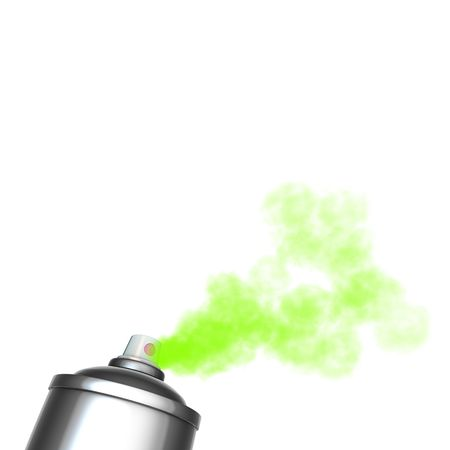 aerosol can: 3d render of a graffiti spray can spraying a green mist  Stock Photo
