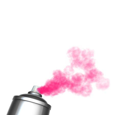 3d render of a graffiti spray can spraying a pink mist