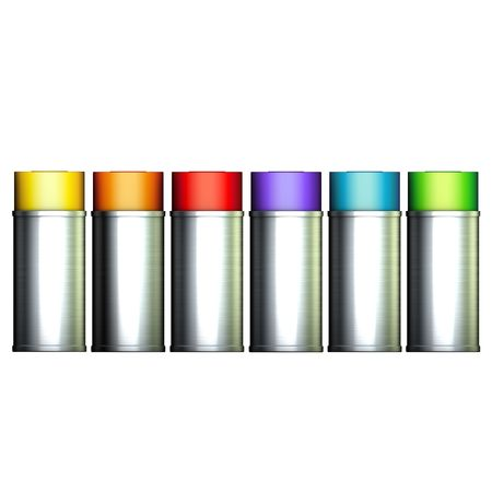 aerosol can: 3d frontal 6 spray can in rainbow color ranked