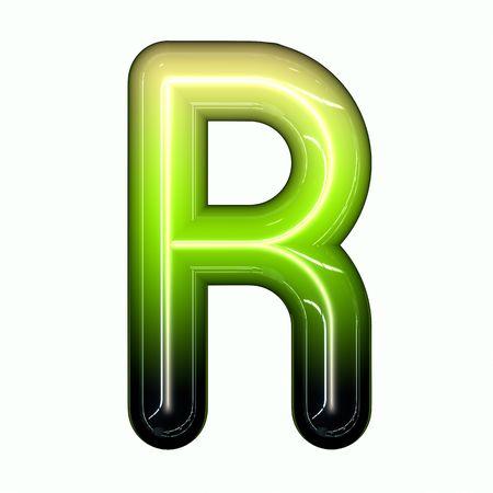green shiny glossy 3d child funny bubble alphabet font R