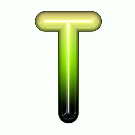 green shiny glossy 3d child funny bubble alphabet font T photo