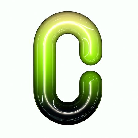 green shiny glossy 3d child funny bubble alphabet font C photo
