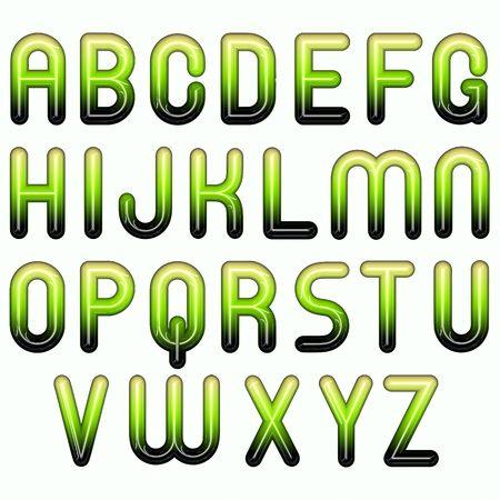 green shiny glossy 3d child funny bubble alphabet Stock Photo