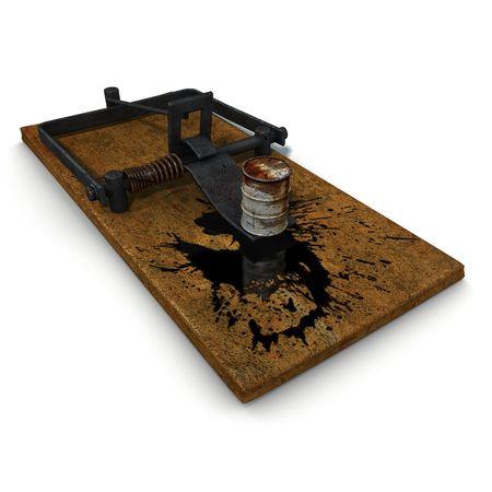 3d trap illustration on oil spill disaster  illustration