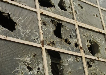 vandalism broken destroyed windows                               Stock Photo