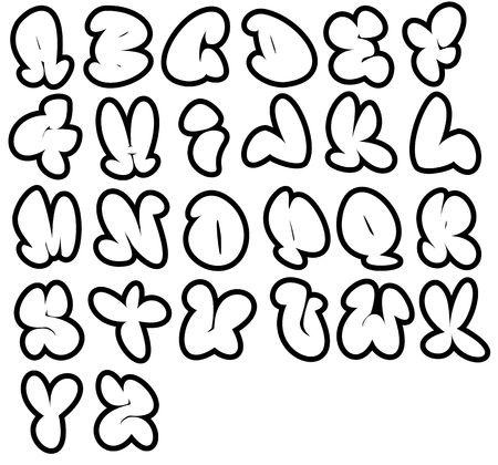 26 de fuentes de Graffiti, alfabeto de burbuja de humor, pueden utilizarse en una variedad de formas.  Foto de archivo - 8069894