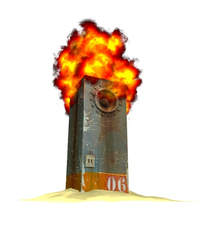 3d render of a burning industrial speaker soundsystem on a pile of sand