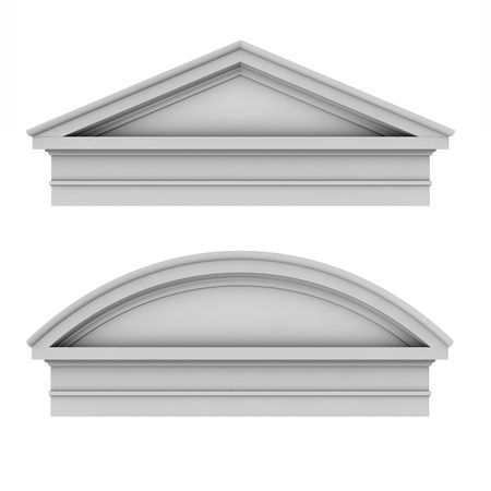 3d classic architecture Roman Tuscan pediments Stock Photo