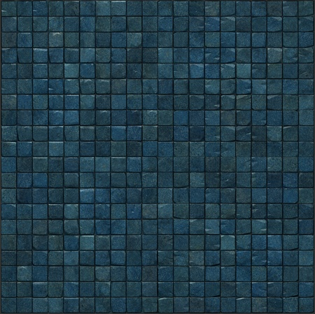 large 3d render of blue mosaic wall floor Stock Photo