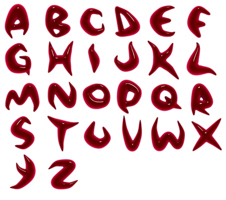 3d render of blood red alphabet fonts Stock Photo - 8902239