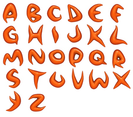 3d render of trendy glossy orange font alphabet Stock Photo - 8902241