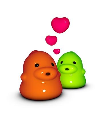 3d render of 2 little monster creature in love Stock Photo - 8988322