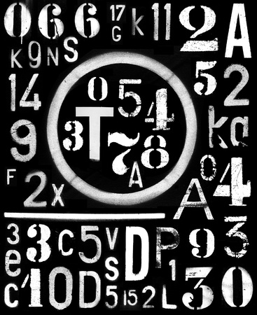 spray-paint industrial font and number alpha template for 3d Stock Photo - 9311647