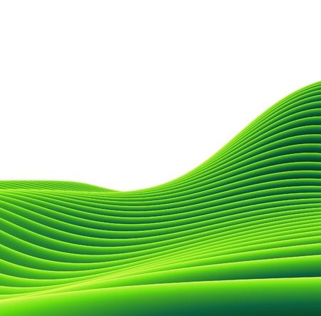 acres: 3d render of a green tube sloping landscape