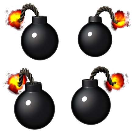 3d render of a vintage cartoon style pirate bomb on white Stock Photo - 9596164