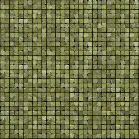large 3d render of green mosaic wall floor