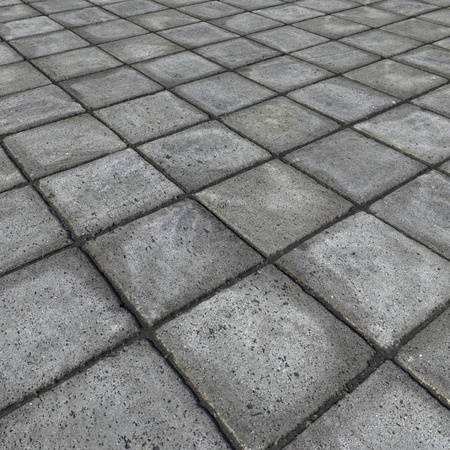 HD 3d render of square pavement tiles in gray stone concrete  Imagens