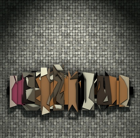 sculpt: 3d render floating abstract graffiti on mosaic wall