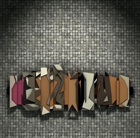 mus�e: rendu 3D flottant abstraite graffitis sur le mur de la mosa�que