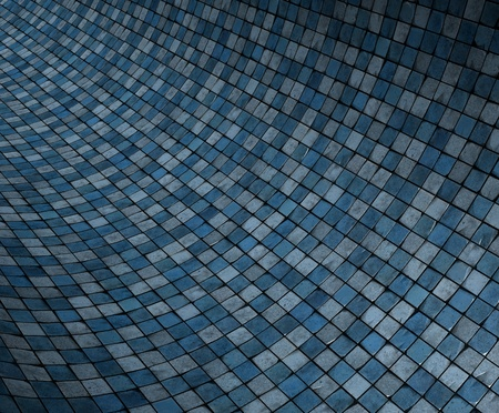 concave: 3d render concave curved blue grunge mosaic surface Stock Photo