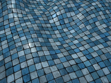 wobble: 3d render blue wobble mosaic tile floor wall surface
