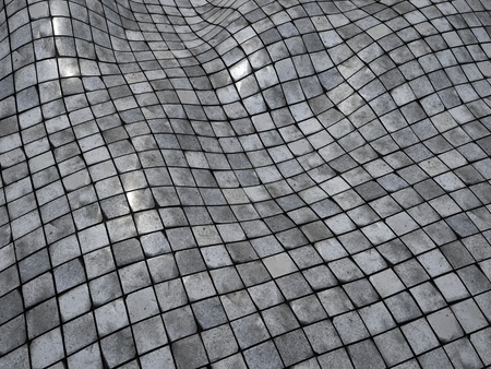 wobble: 3d render wobble mosaic tile floor wall surface