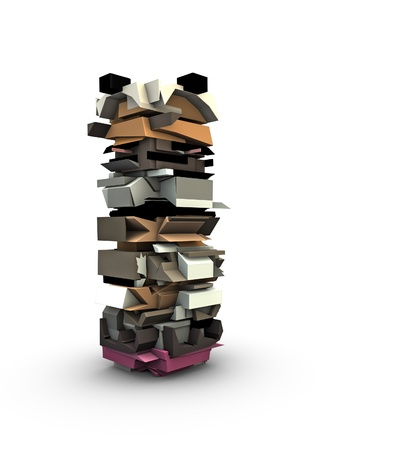 fragmented: 3d render of abstract graffiti totem sculpture