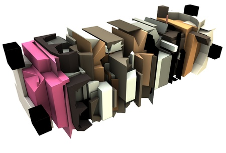 fragmented: 3d render of abstract graffiti floating sculpture