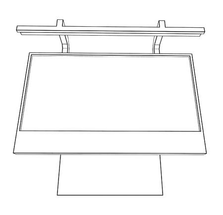 marketeer: linear black and white illustration of billboard on white