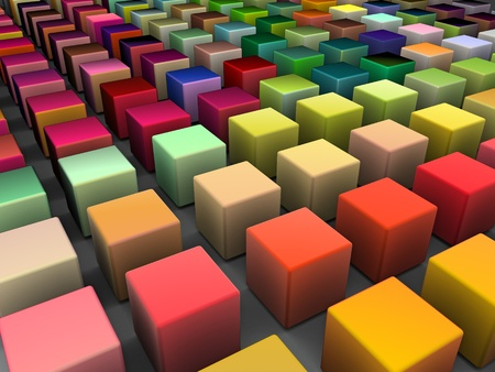 3d render of beveled cubes in multiple bright colors