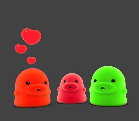 3d render of 3 little monster creature in love  Stock Photo - 10798608