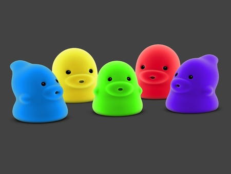 3d render of 5 cute little baby creature Stock Photo - 10833486