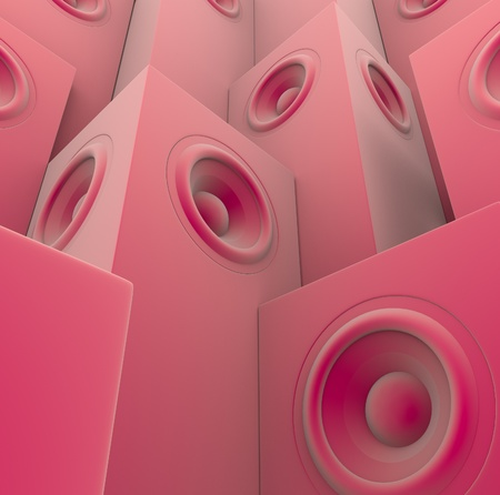 soft pink 3d render of grouped sound-system deejay dj set