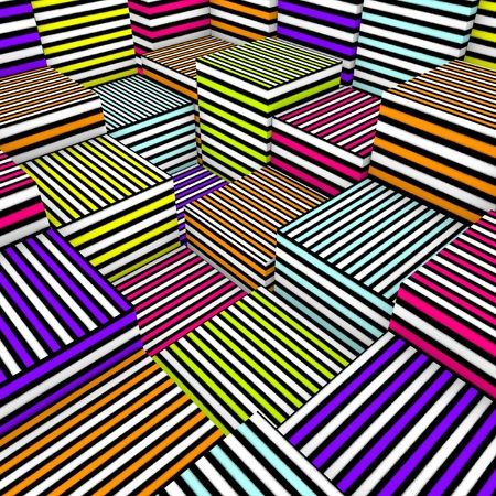 fragmented: abstract 3d composition cubes in colored spray line texture Stock Photo