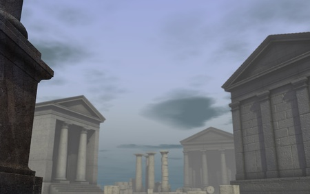 architrave: 3d historic render classical Roman Greek city Stock Photo