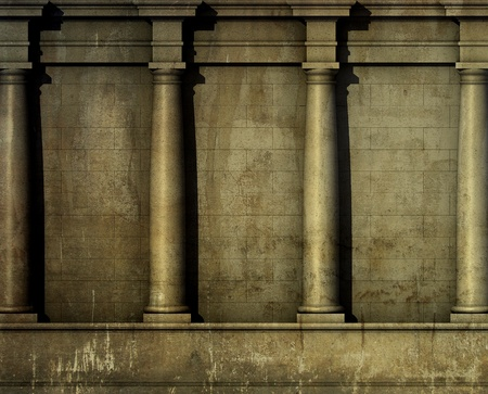 3d antique classic architecture Greek Roman wall render  Stock Photo