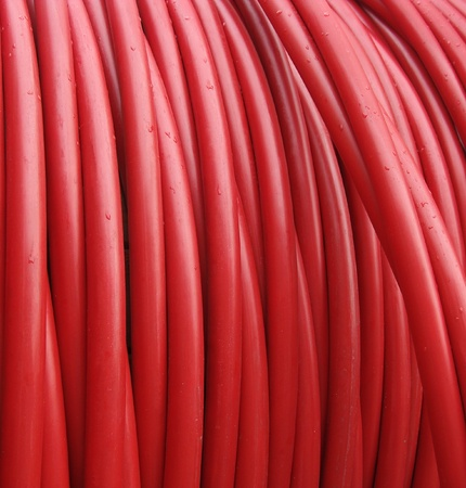 plastic red rolled up hose or cable                                photo