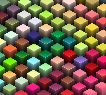isometric 3d render of beveled cubes in multiple bright colors  Stock Photo - 12204180
