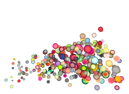 3d render strings of floating balls in multiple colors Stock Photo