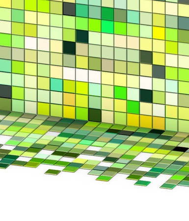 3d render mixed green tiled wall floor pavement Stock Photo - 12535865